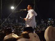 Wali Kota Banda Aceh, Aminullah Usman, di hadapan ribuan peserta muzakarah ulama sufi internasional di Tugu Darusalam Aceh, kemarin. (Foto/Ist)