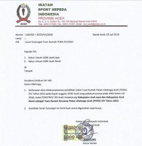 Surat dukungan tertulis PABBSI Aceh untuk Ajabar sebagai tuan Pekan Olah Raga Aceh (PORA) XIV tahun 2022. (Dok/Ist)