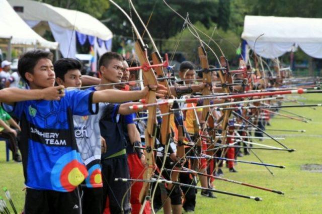 Cabang olahraga panahan pada PORA XIII di Jantho, Aceh Besar. (Foto/Ist)