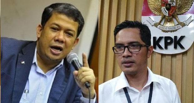 Wakil Ketua DPR RI, Fahri Hamzah (kiri) dan Juru Bicara KPK, Febri Diansyah (kanan). (Foto/Kolab/Ist)