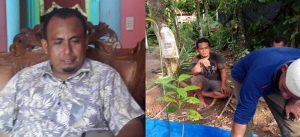 Muhammad Yamin (kiri). Sementara para petani pala lainnya sedang merawat tanaman bibit pala. (Foto/Faisal)