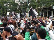Beberapa orang peserta aksi reuni 212 di Kota Medan, tampak datang dengan berkuda. (Foto/t.bobby lesmana)
