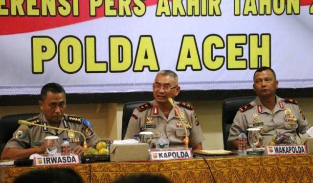 Kapolda Aceh, Irjen Pol Rio S Djambak, memberi keterangan pers di Mapolda, Senin (31/12/2018). (Foto/Gito Rolis)