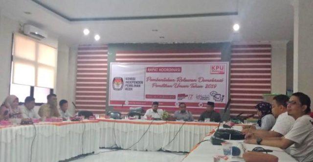 Rapat koordinasi di KIP Aceh di Banda Aceh. (Foto/Ist)