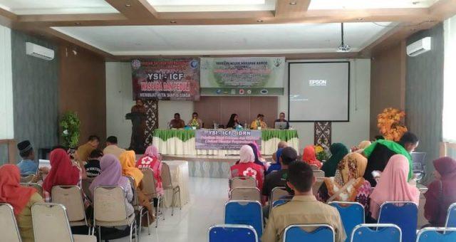 Yayasan Kelor Harapan Kamoe (KHAMO) Aceh Jaya mengadakan pelatihan dan simulasi Sekolah Siaga Bencana (SSB), mulai Senin - Selasa (28-29/1/2019) di Aula Dinas Kesehatan Aceh Jaya. (Foto/Zammil)