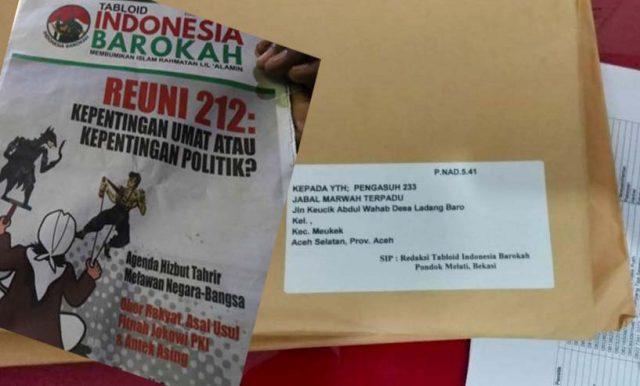 Paket kiriman berisi tabloid Indonesia Barokah yang sudah sampai di Kantor Pos Tapaktuan. (Foto/Faisal)