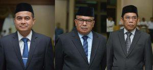 Jamaluddin (Kadis Kebudayaan dan Pariwisata Aceh), Bustami Hamzah (Kepala Badan Pengelolaan Keuangan Aceh) dan Suhaimi (Sekwan DPRA). (Foto/Ist)